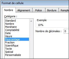 Catégorie Pourcentage dans la boîte de dialogue Format de cellule