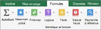 Sous l'onglet Formules, cliquez sur texte.