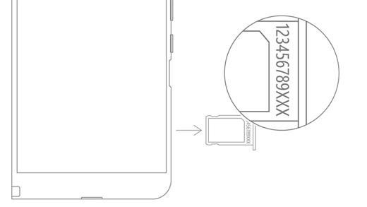 Numéro de série Duo surface sur le plateau de carte SIM