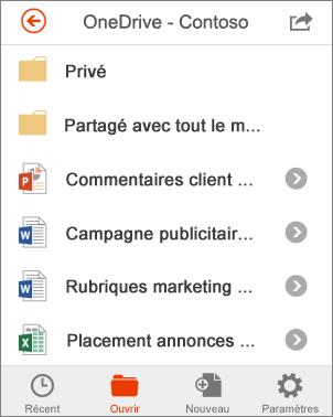 Fichiers OneDrive dans Office Mobile