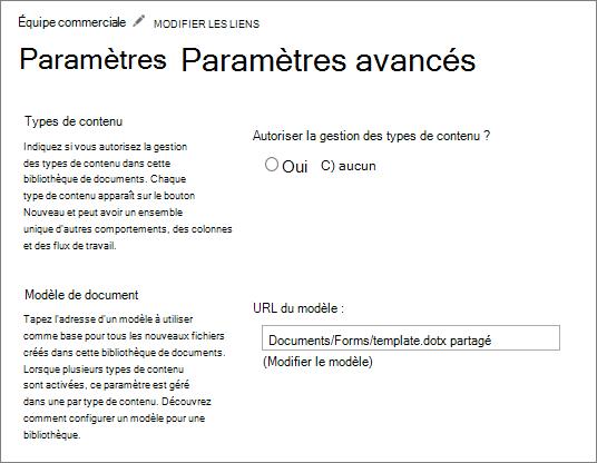 Paramètres de la bibliothèque, sous Paramètres avancés affichant le champ modèle modifier.