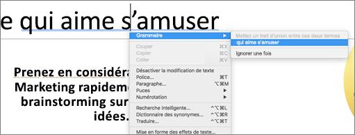 Soulignement des mots en bleu avec le menu contextuel affichant une suggestion grammaticale