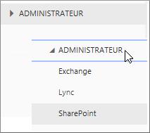 Développer Administrateur pour afficher les centres d'administration disponibles