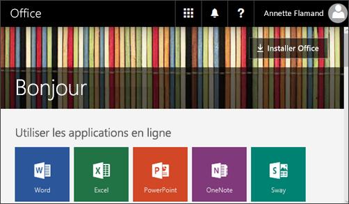 Capture d'écran de la page d'accueil avec le bouton Installer Office
