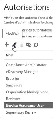 Affiche le rôle utilisateur Certification du service sélectionné, puis l'icône d'édition sélectionné.