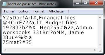 Liste de mots de passe dans un fichier Bloc-notes