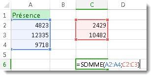 Utilisation de SOMME avec deux plages de nombres
