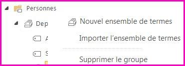 Dans l'outil de gestion du magasin de termes, vous pouvez sélectionner des éléments dans le volet de navigation pour ouvrir un menu