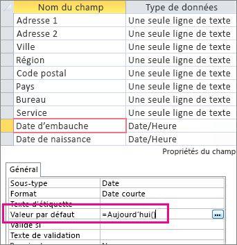 Définition de la valeur par défaut d'un champ Date/heure dans une table Access