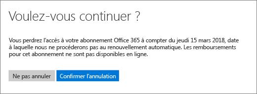 Capture d'écran de la page Êtes-vous sûr? lors de l'annulation d'un abonnement Office365 pour les particuliers