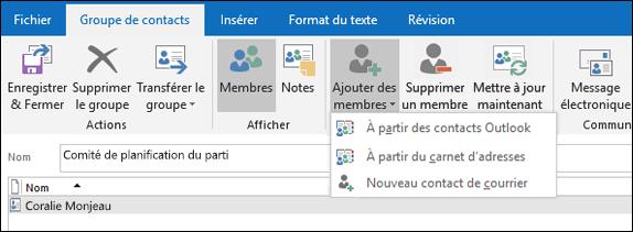 Sélectionnez Ajouter des membres à ajouter à votre groupe de contacts.