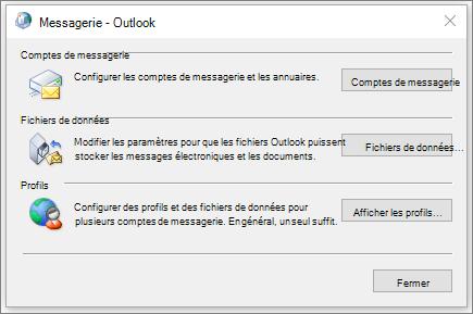 La boîte de dialogue courrier dans le panneau de configuration