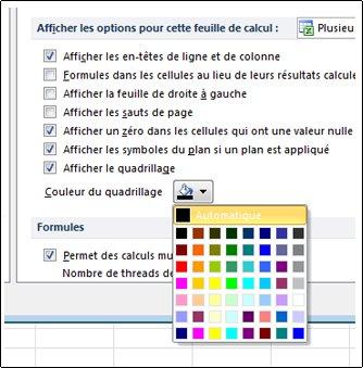 Paramètres de couleur de la grille dans la boîte de dialogue Options Excel