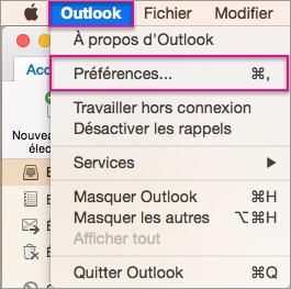 Menu Outlook > Préférences