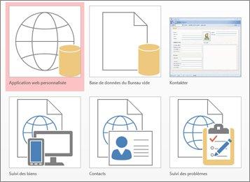 Affichage des modèles sur l'écran de démarrage dans Access