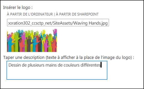 Boîte de dialogue Titre et logo du nouveau site de SharePoint Online, montrant comment créer le texte de remplacement pour l'image du logo