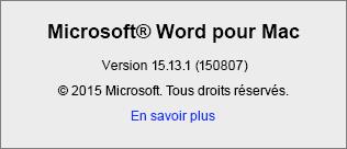Capture d'écran de la page À propos de Word dans Word pour Mac