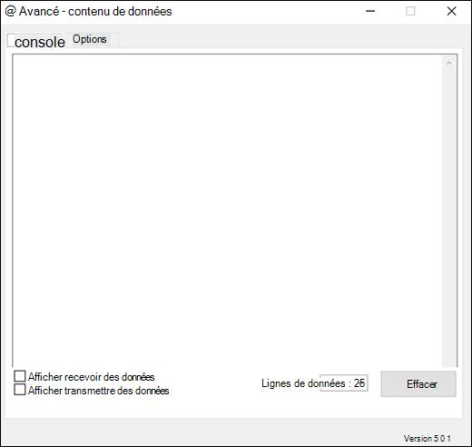Onglet de la console des paramètres avancés du complément flux de données Excel