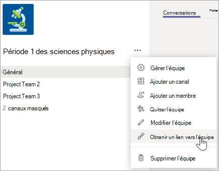 Créer un lien vers une équipe à partir du menu autres options
