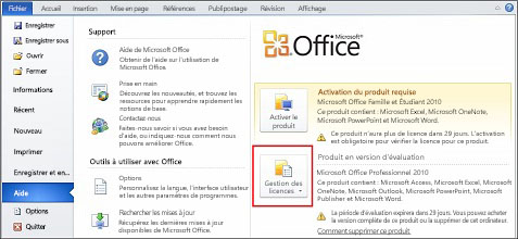 Supprimer la version d'évaluation d'Office 2010
