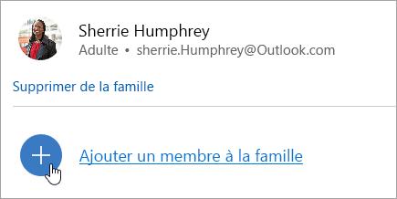 Capture d'écran du bouton Ajouter un membre de la famille