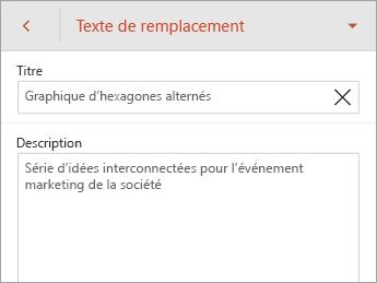Commande Texte de remplacement dans l'onglet SmartArt