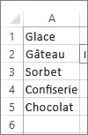 liste de valeurs utilisables dans une zone de liste modifiable
