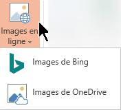 Le menu déroulant images en ligne