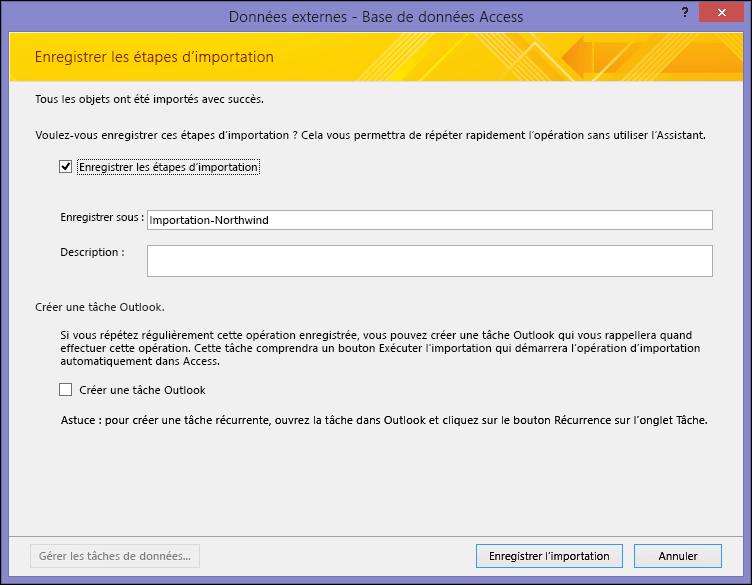 Page Enregistrer les étapes d'exportation de l'Assistant d'exportation d'une feuille de calcul Excel