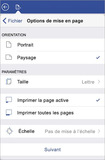 Options du mode Impression, telles que l'orientation, la taille, les pages à imprimer et l'échelle.