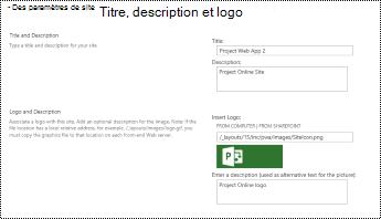 Description du site et volet du logo du site dans Project Online
