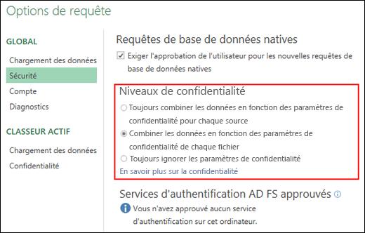 Power Query - Désactiver les invites de niveau de confidentialité au niveau de l'ordinateur (y compris la clé de Registre)