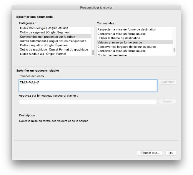 Excel pour Mac - Personnalisations du clavier