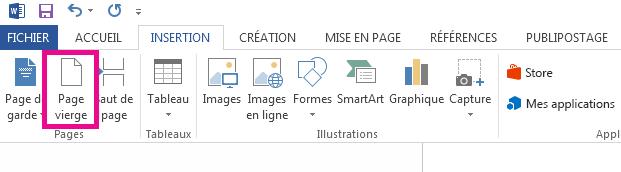 L'option Page vierge figure dans l'onglet Insertion.