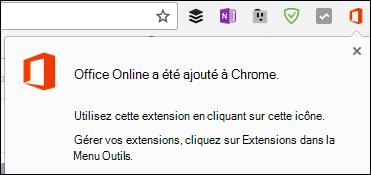 Chrome vous avertit que l'extension Office Online a été ajoutée