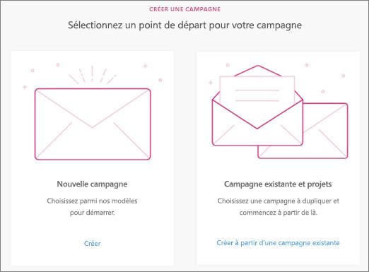 Choisissez Nouvelle campagne ou Campagne existante et projets.