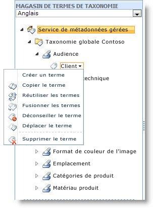 Utilisez le menu pour gérer des termes au sein d'un ensemble de termes.