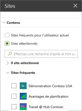 Paramètres du composant WebPart sites