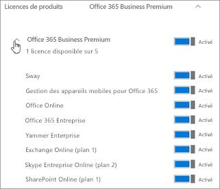 Développez la section abonnement pour afficher les services Office365 inclus dans la licence.