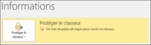 L'état de protection du classeur est activé lorsque la protection des fichiers est activée dans Excel