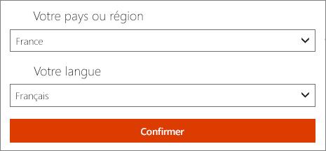 Sélectionnez vos pays/région et langue préférés.