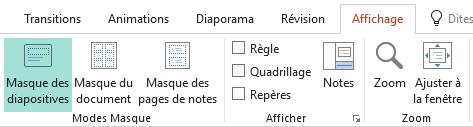 Les dispositions de diapositive peuvent être personnalisées en mode Masque des diapositives
