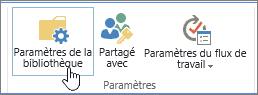 Boutons de paramètres de la bibliothèque SharePoint dans le ruban