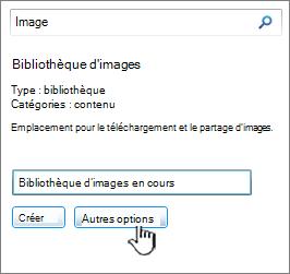 Boîte de dialogue créer une bibliothèque d'images avec options plus mises en évidence