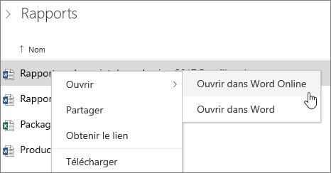 Ouvrir un fichier dans WordOnline dans OneDrive