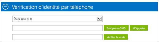 Capture d'écran de la section Vérification d'identité par téléphone de l'abonnement à Azure, dans laquelle vous indiquez le code de confirmation, puis cliquez sur Vérifier le code.