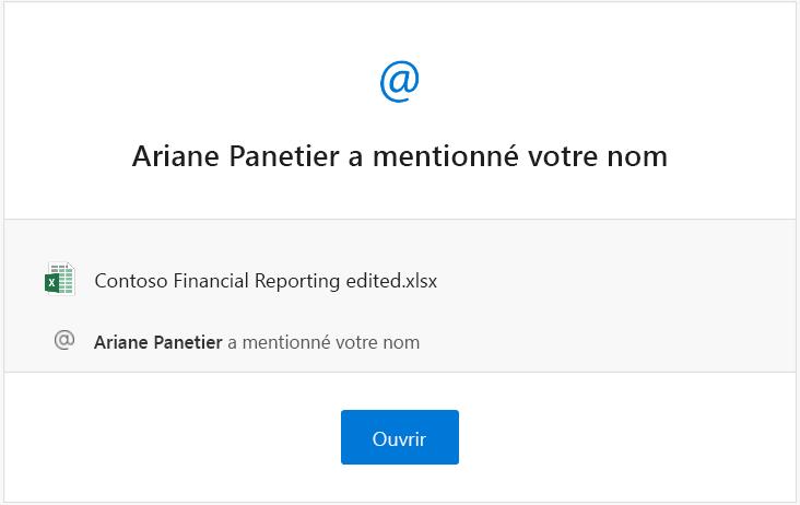 Capture d'écran d'un e-mail de notification de mention venant d'Excel
