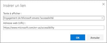 Boîte de dialogue lien hypertexte dans Outlook sur le Web.