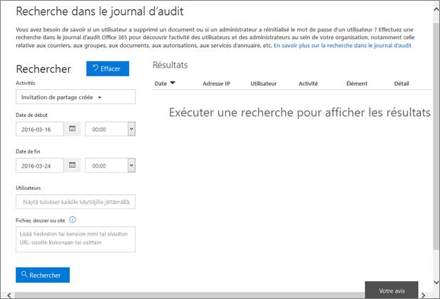 Rapport d'activité Office365 filtré pour afficher les créations d'invitation