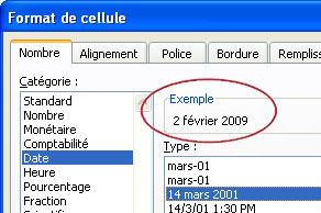 Zone Exemple sélectionnée dans la boîte de dialogue Format de cellule